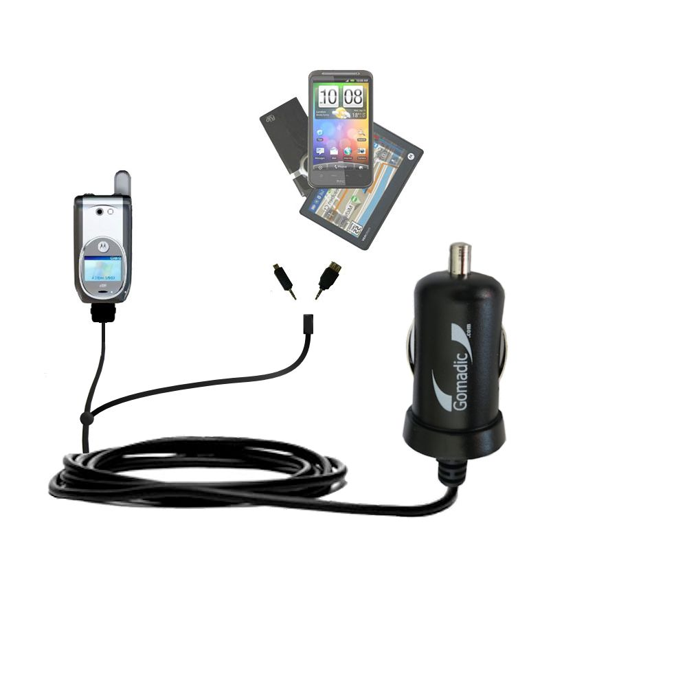 Double Port Micro Gomadic Car / Auto DC Charger suitable for the Nextel i920 i930 - Charges up to 2 devices simultaneously with Gomadic TipExchange Technology