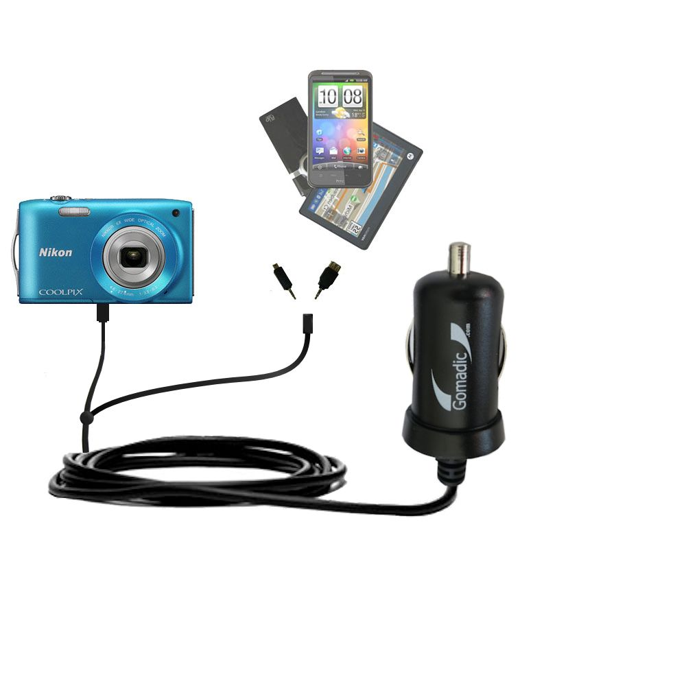 Double Port Micro Gomadic Car / Auto DC Charger suitable for the Nikon Coolpix S3200 / S3300 - Charges up to 2 devices simultaneously with Gomadic TipExchange Technology