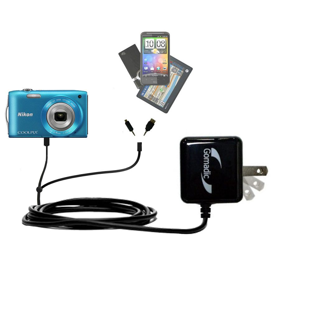 Double Wall Home Charger with tips including compatible with the Nikon Coolpix S3200 / S3300