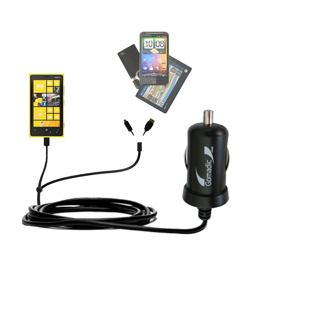 Double Port Micro Gomadic Car / Auto DC Charger suitable for the Nokia Lumia 920 - Charges up to 2 devices simultaneously with Gomadic TipExchange Technology