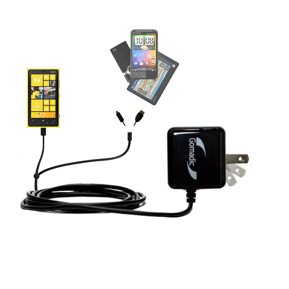 Gomadic Double Wall AC Home Charger suitable for the Nokia Lumia 920 - Charge up to 2 devices at the same time with TipExchange Technology