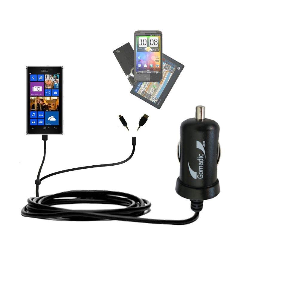 Double Port Micro Gomadic Car / Auto DC Charger suitable for the Nokia Lumia 925 - Charges up to 2 devices simultaneously with Gomadic TipExchange Technology