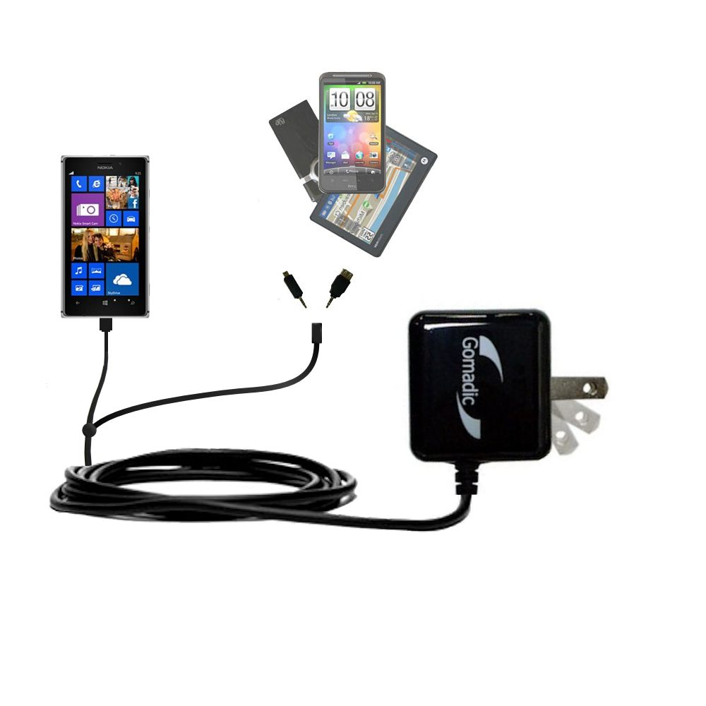 Gomadic Double Wall AC Home Charger suitable for the Nokia Lumia 925 - Charge up to 2 devices at the same time with TipExchange Technology
