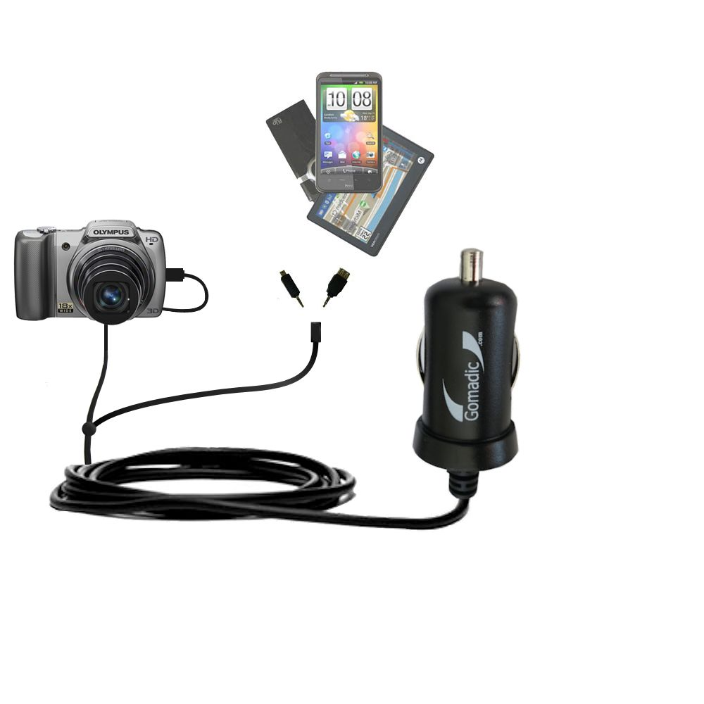 Double Port Micro Gomadic Car / Auto DC Charger suitable for the Olympus SZ-10 - Charges up to 2 devices simultaneously with Gomadic TipExchange Technology