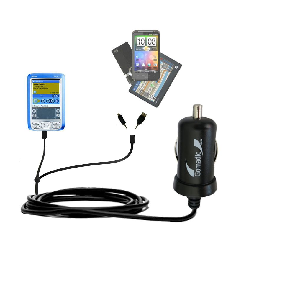 Double Port Micro Gomadic Car / Auto DC Charger suitable for the Palm palm Zire 72s - Charges up to 2 devices simultaneously with Gomadic TipExchange Technology