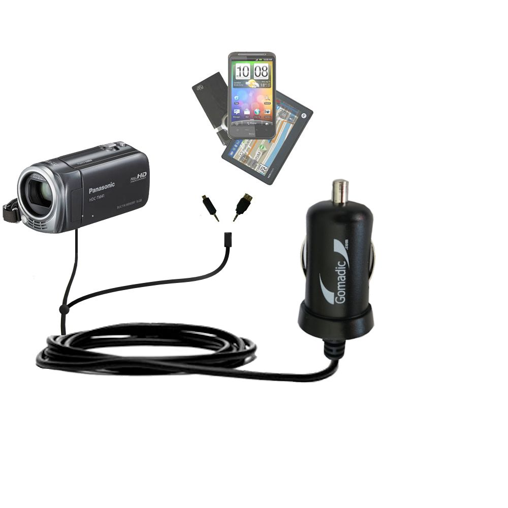 Double Port Micro Gomadic Car / Auto DC Charger suitable for the Panasonic HDC-TM40 HDC-TM41 - Charges up to 2 devices simultaneously with Gomadic TipExchange Technology