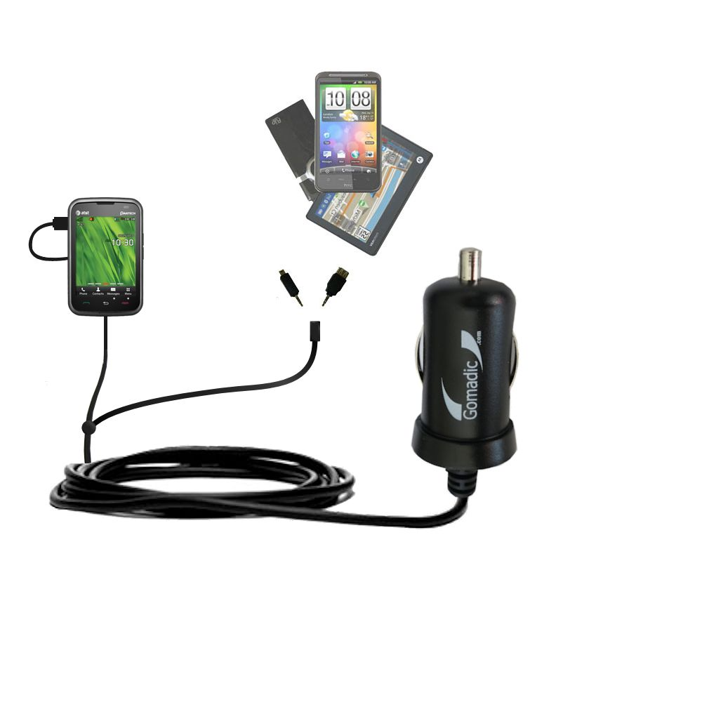Double Port Micro Gomadic Car / Auto DC Charger suitable for the Pantech Renue - Charges up to 2 devices simultaneously with Gomadic TipExchange Technology