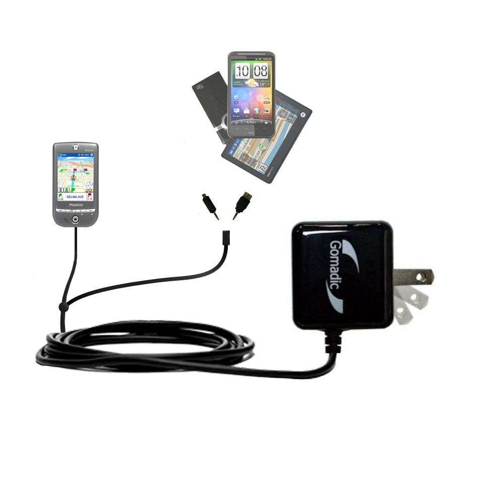 Gomadic Double Wall AC Home Charger suitable for the Pharos GPS 525E - Charge up to 2 devices at the same time with TipExchange Technology