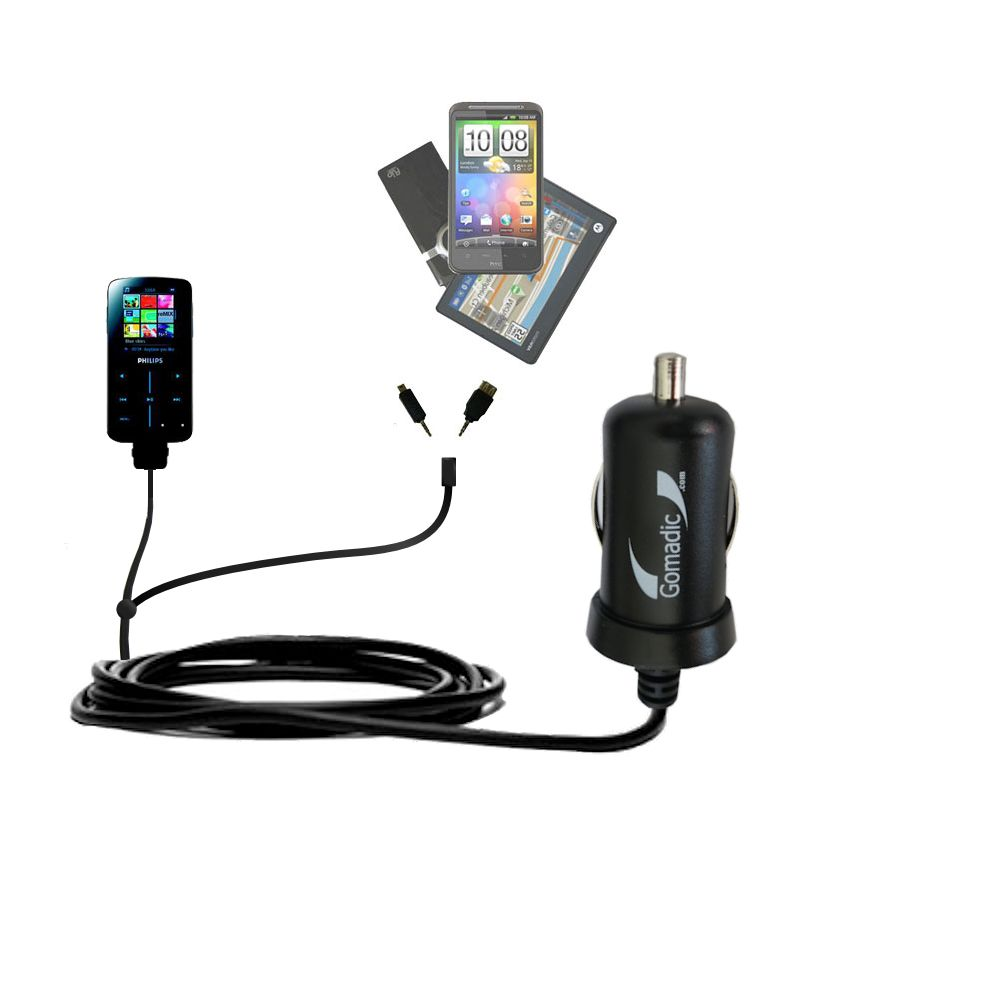 Double Port Micro Gomadic Car / Auto DC Charger suitable for the Philips GoGear SA9325/00 - Charges up to 2 devices simultaneously with Gomadic TipExchange Technology