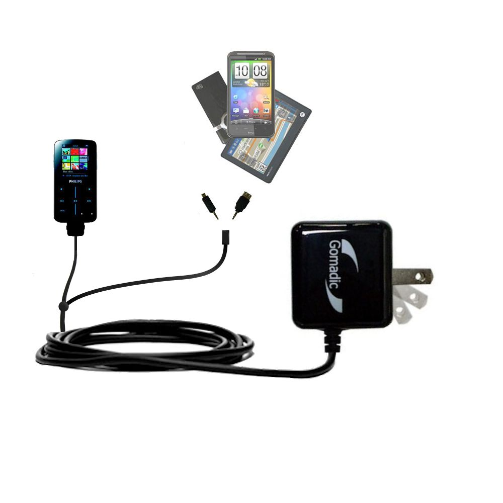 Gomadic Double Wall AC Home Charger suitable for the Philips GoGear SA9325/00 - Charge up to 2 devices at the same time with TipExchange Technology