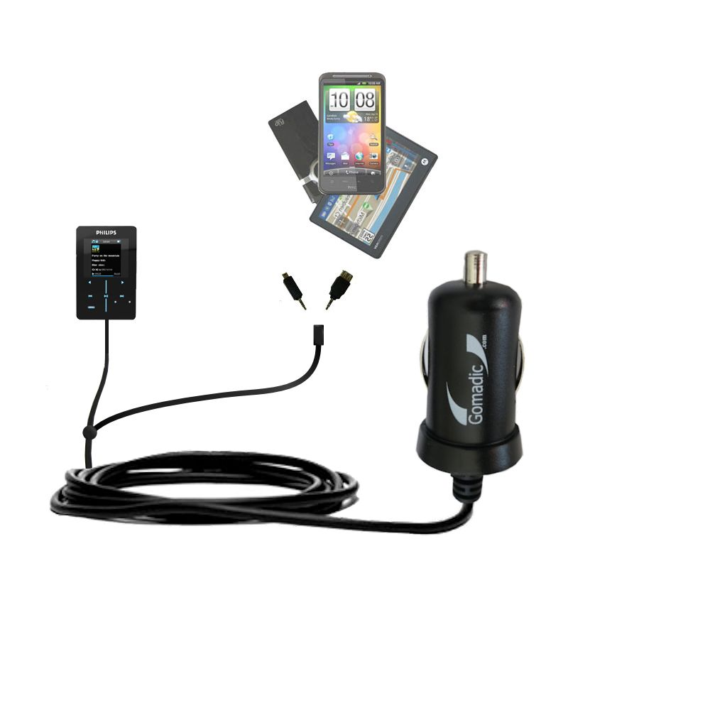 Double Port Micro Gomadic Car / Auto DC Charger suitable for the Philips GoGear SA9200/17 Super Slim - Charges up to 2 devices simultaneously with Gomadic TipExchange Technology