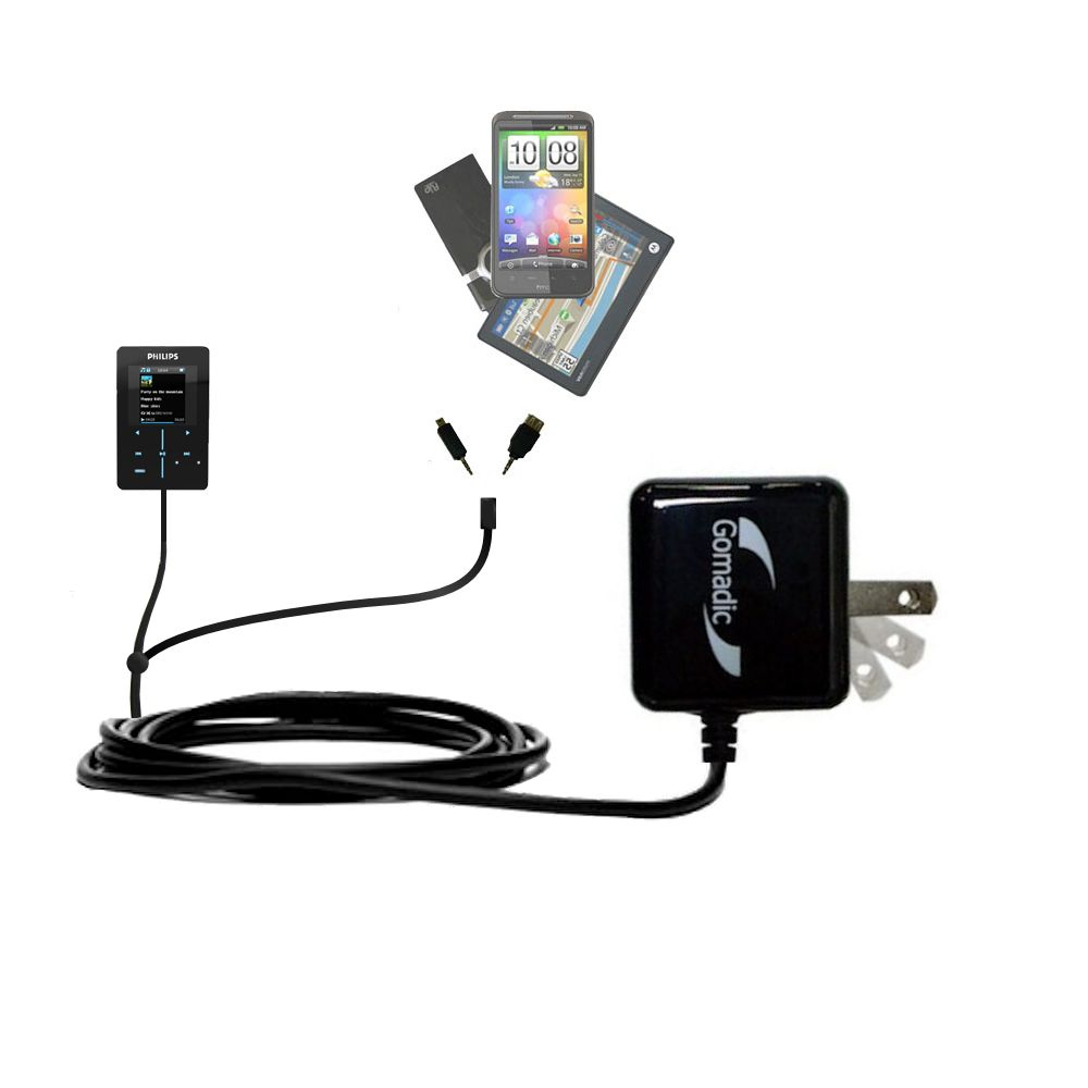Gomadic Double Wall AC Home Charger suitable for the Philips GoGear SA9200/17 Super Slim - Charge up to 2 devices at the same time with TipExchange Technology