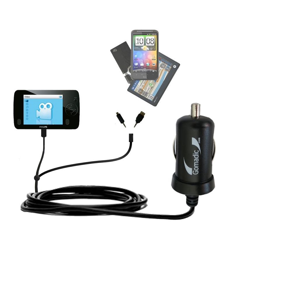 Double Port Micro Gomadic Car / Auto DC Charger suitable for the Philips GoGear SA3125/37 - Charges up to 2 devices simultaneously with Gomadic TipExchange Technology