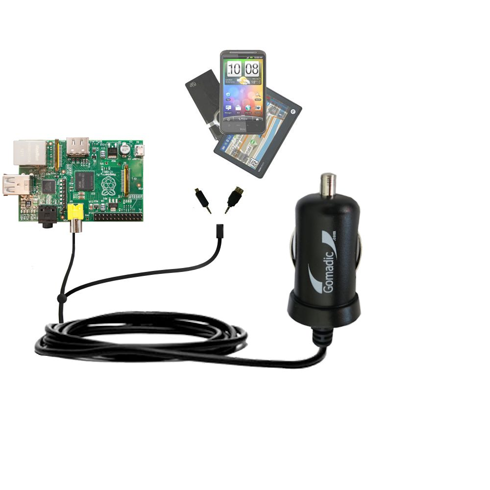 mini Double Car Charger with tips including compatible with the Raspberry Pi Board