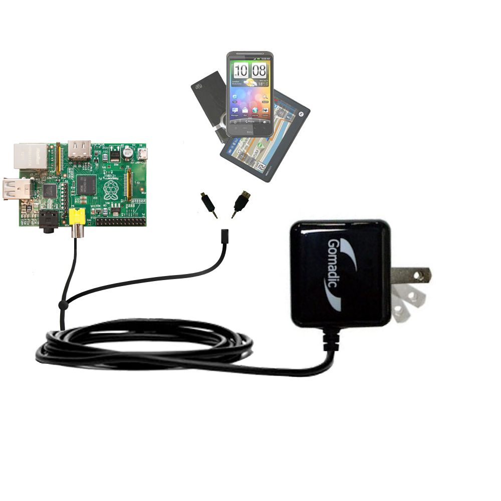 Gomadic Double Wall AC Home Charger suitable for the Raspberry Pi Board - Charge up to 2 devices at the same time with TipExchange Technology