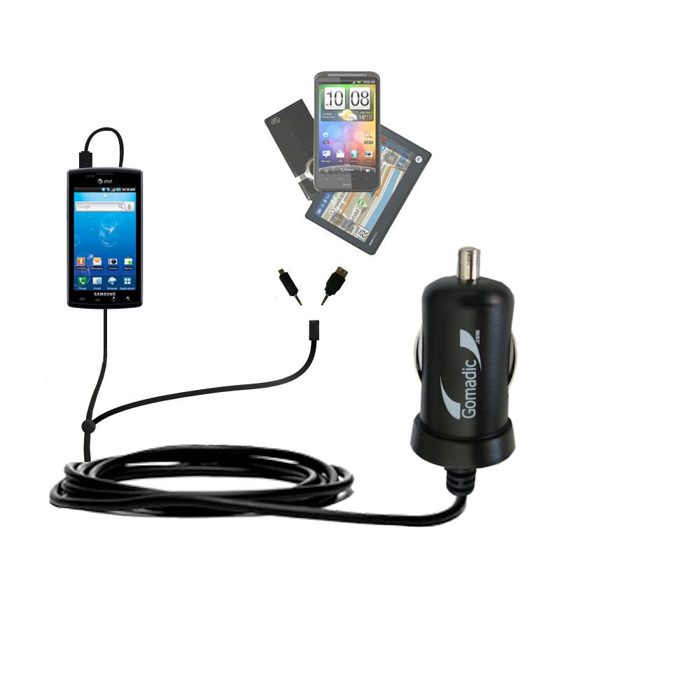 Double Port Micro Gomadic Car / Auto DC Charger suitable for the Samsung Captivate - Charges up to 2 devices simultaneously with Gomadic TipExchange Technology