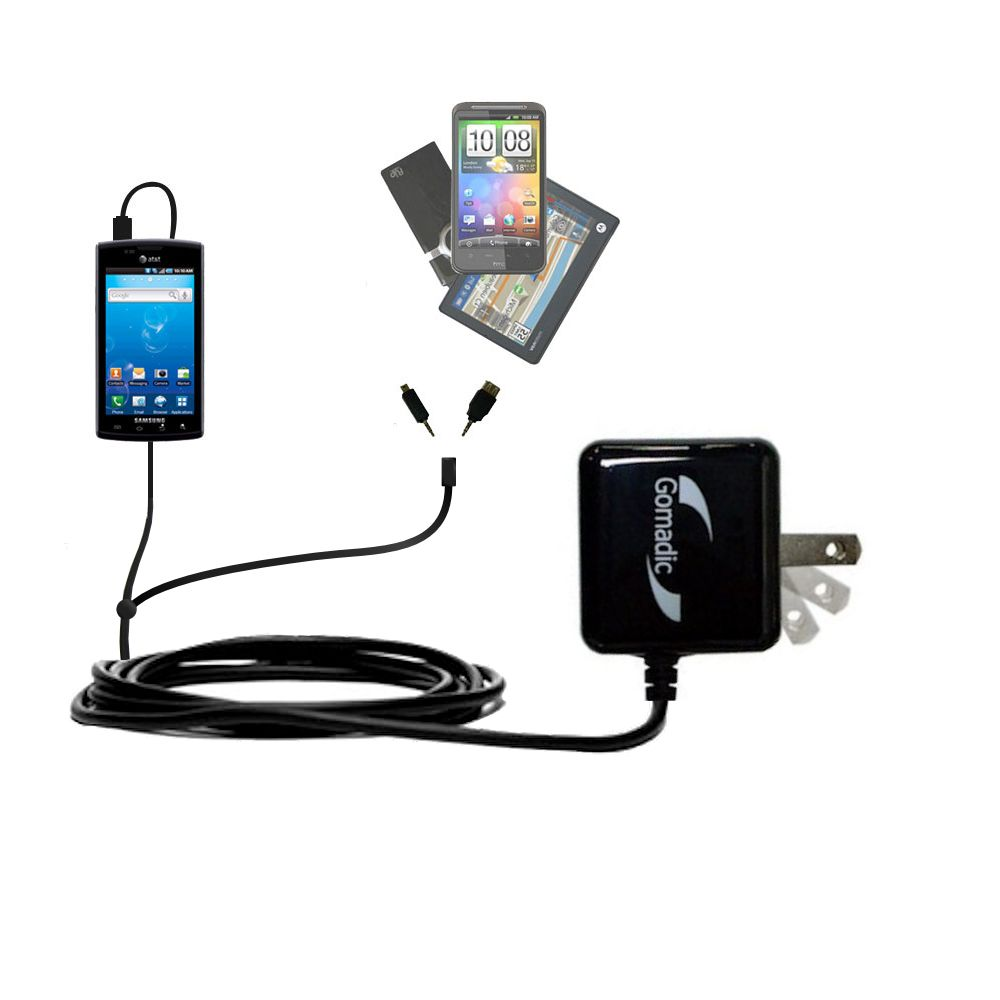 Gomadic Double Wall AC Home Charger suitable for the Samsung Captivate - Charge up to 2 devices at the same time with TipExchange Technology