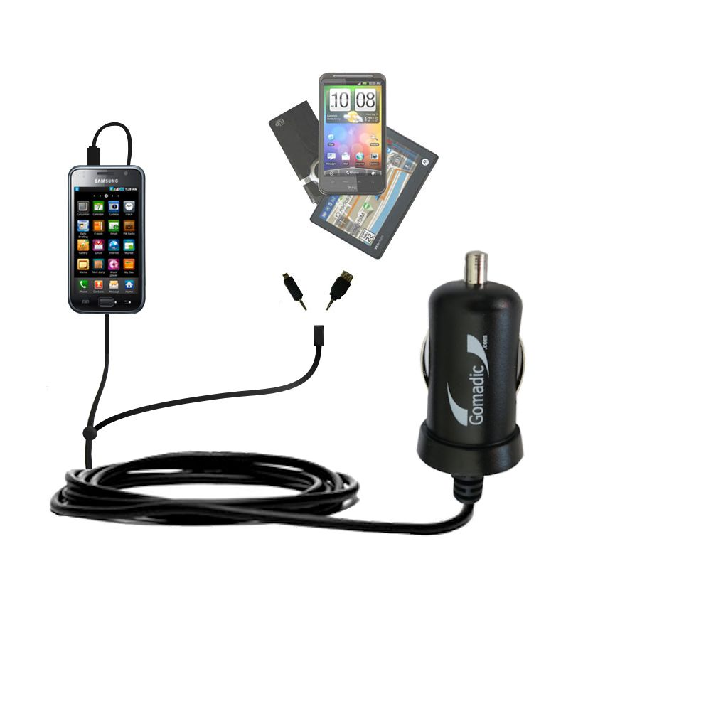 Double Port Micro Gomadic Car / Auto DC Charger suitable for the Samsung Galaxy S - Charges up to 2 devices simultaneously with Gomadic TipExchange Technology