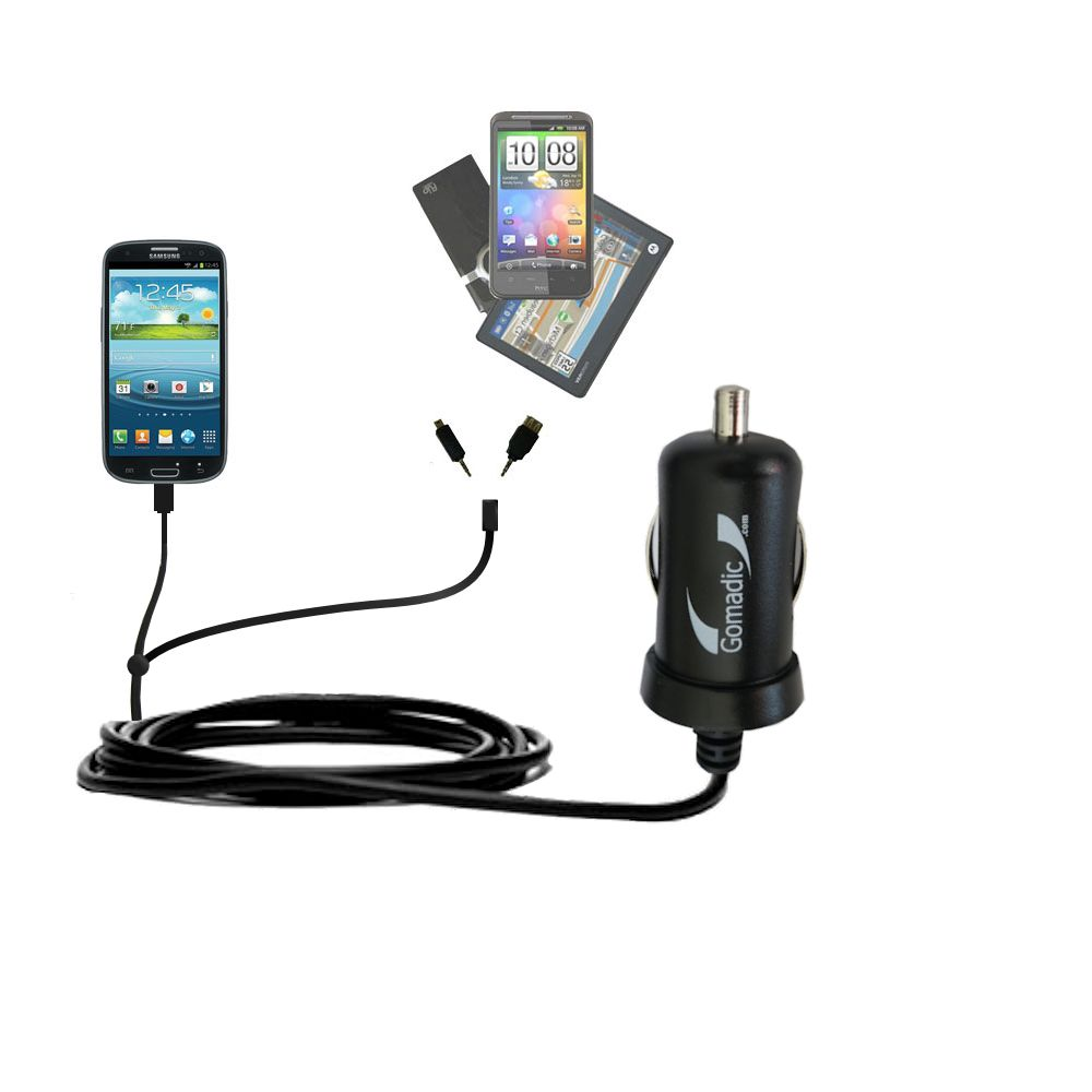 mini Double Car Charger with tips including compatible with the Samsung Galaxy S III