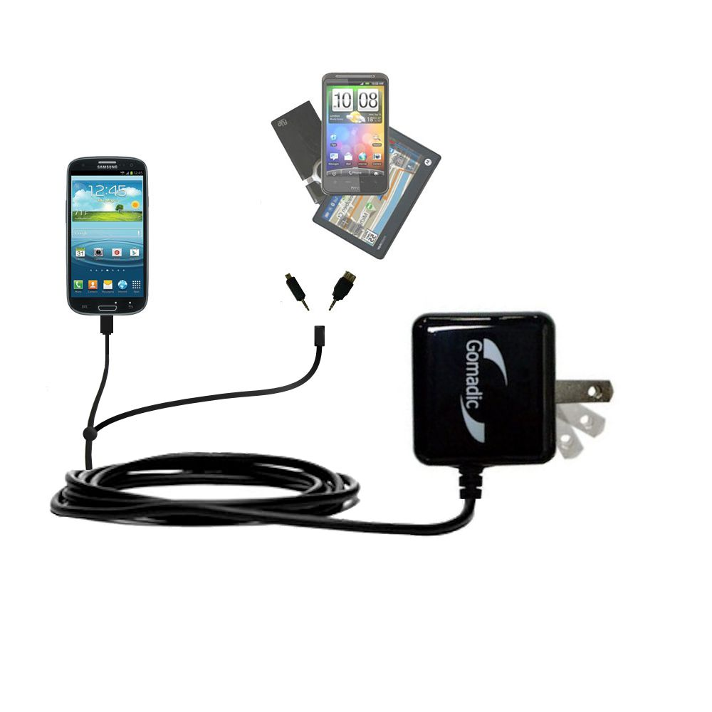Double Wall Home Charger with tips including compatible with the Samsung Galaxy S III