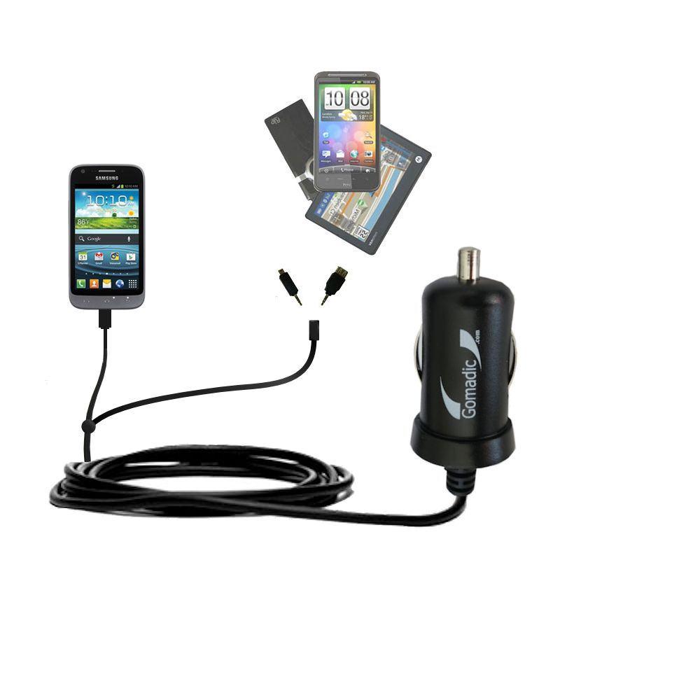 mini Double Car Charger with tips including compatible with the Samsung Galaxy Victory