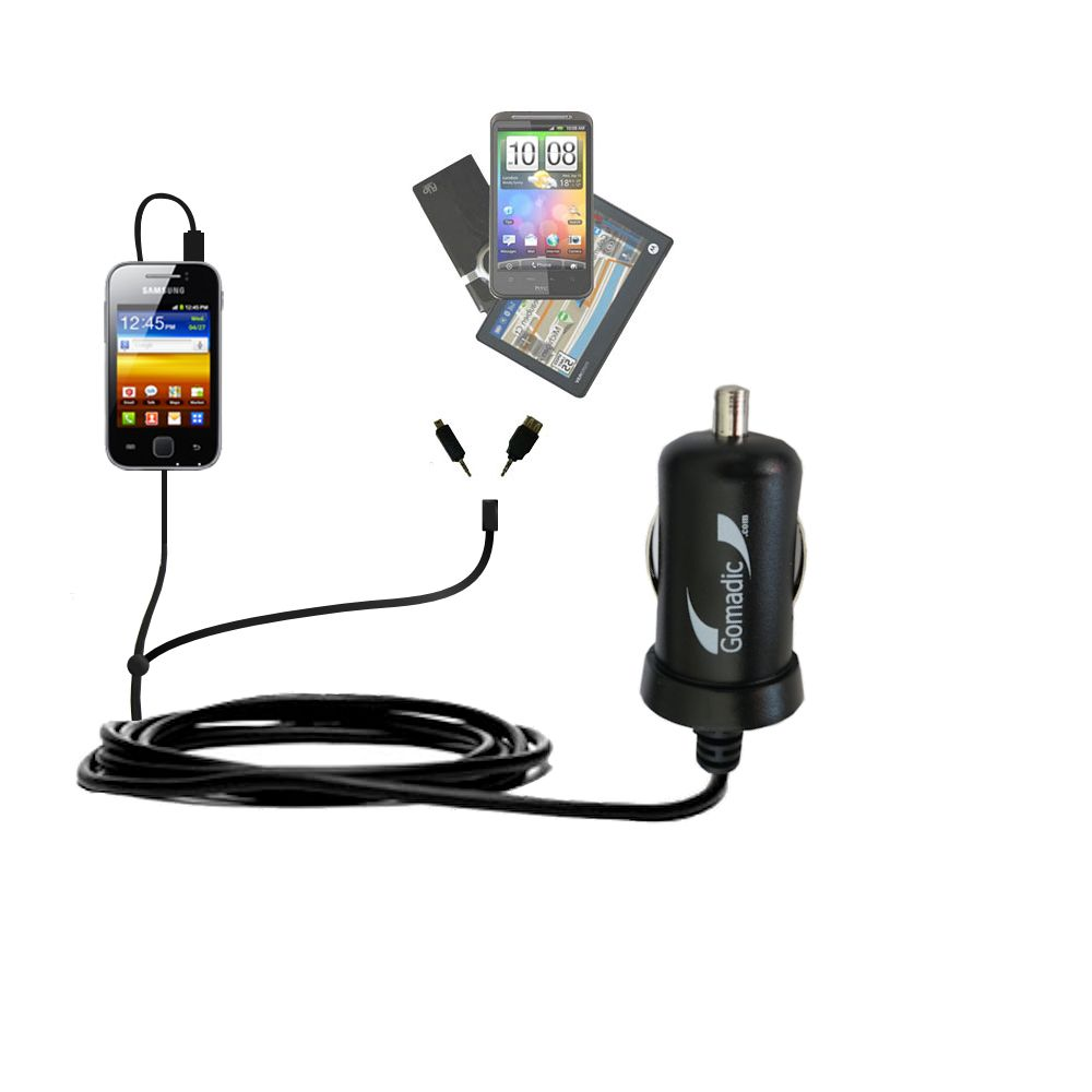 mini Double Car Charger with tips including compatible with the Samsung Galaxy Y