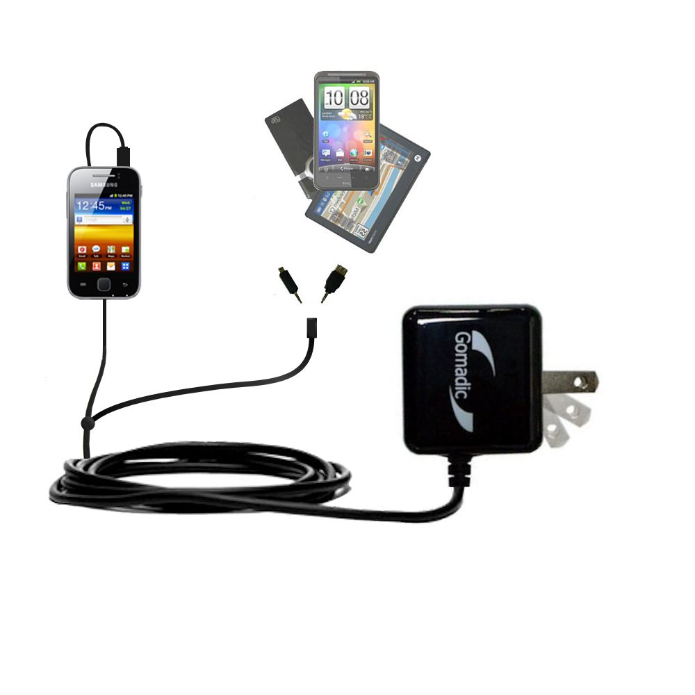 Double Wall Home Charger with tips including compatible with the Samsung Galaxy Y