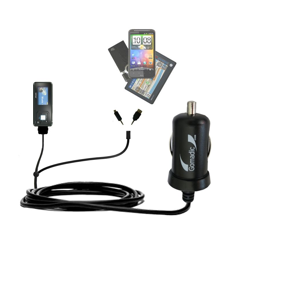 Double Port Micro Gomadic Car / Auto DC Charger suitable for the Sandisk Sansa c240 - Charges up to 2 devices simultaneously with Gomadic TipExchange Technology