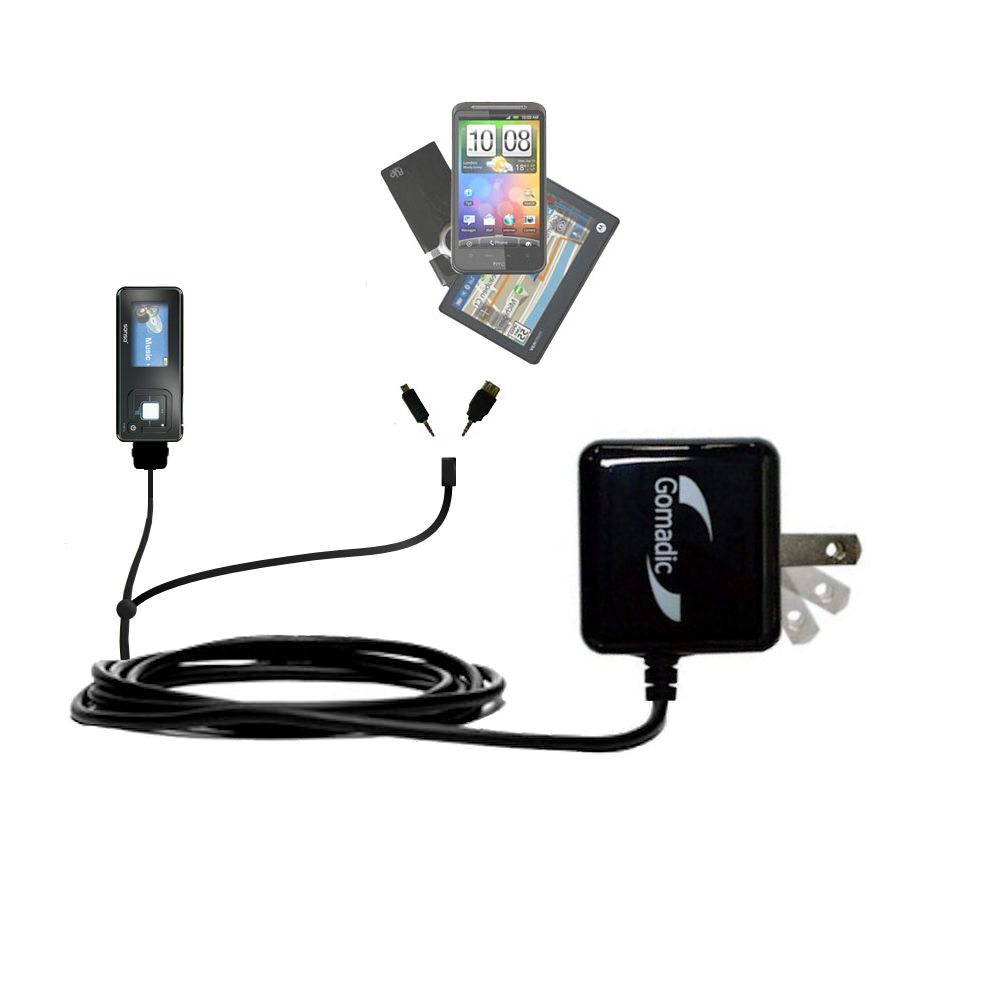 Double Wall Home Charger with tips including compatible with the Sandisk Sansa c240