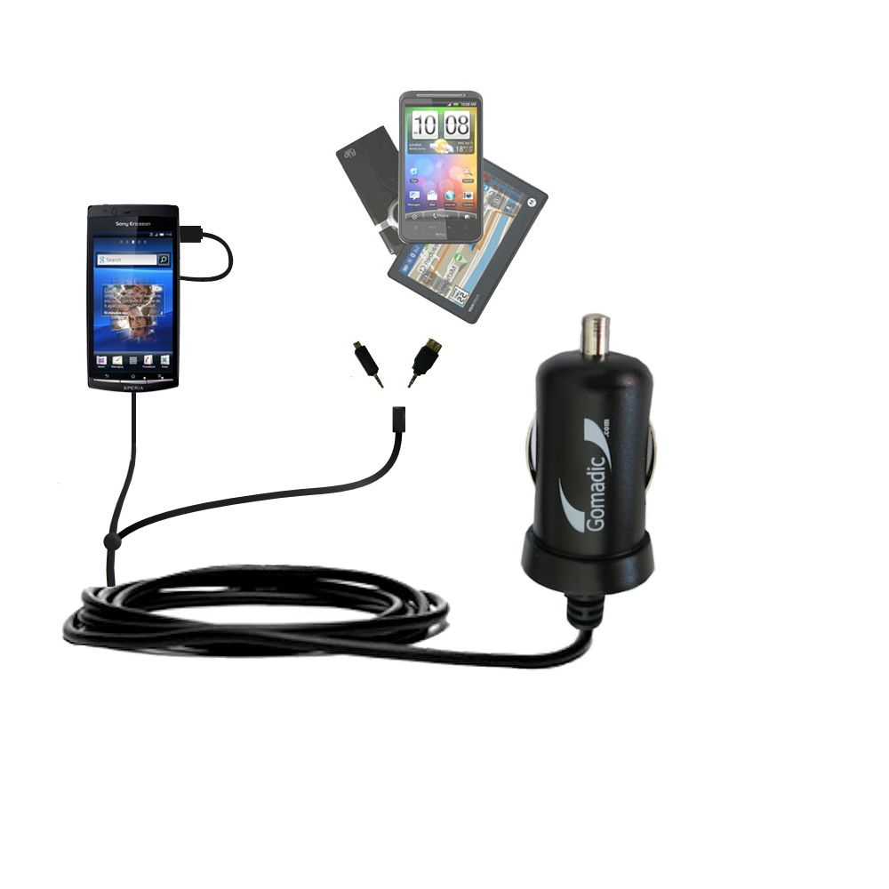 Double Port Micro Gomadic Car / Auto DC Charger suitable for the Sony Ericsson LT15i - Charges up to 2 devices simultaneously with Gomadic TipExchange Technology