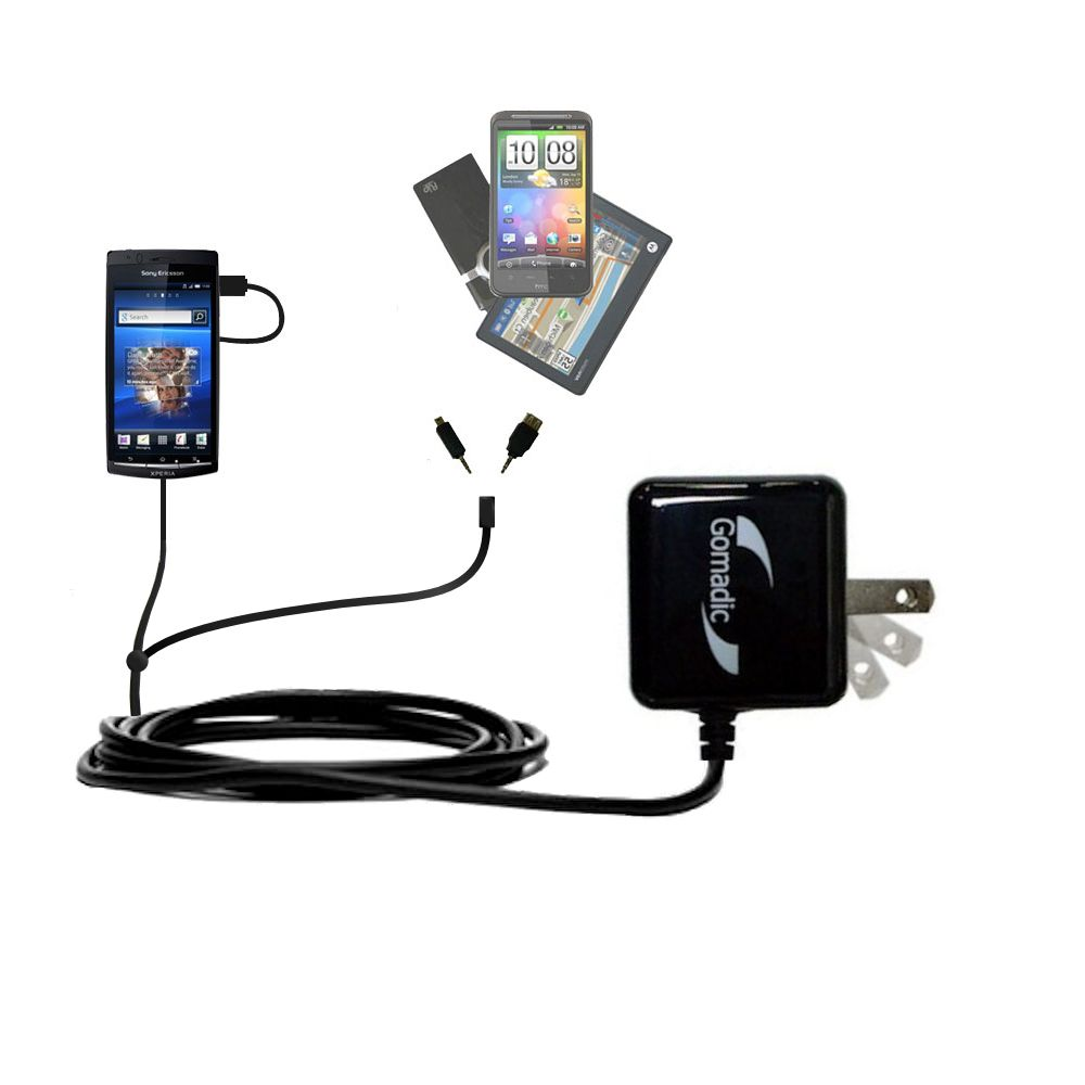 Gomadic Double Wall AC Home Charger suitable for the Sony Ericsson LT15i - Charge up to 2 devices at the same time with TipExchange Technology