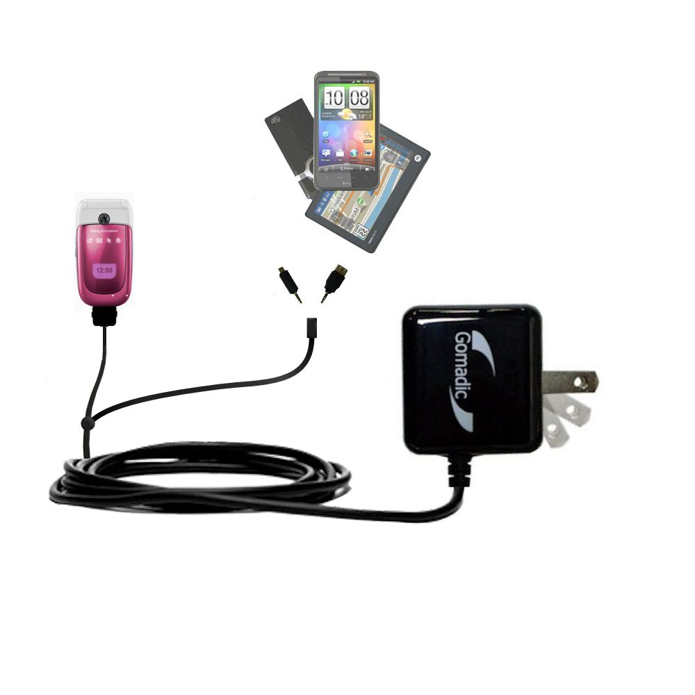 Gomadic Double Wall AC Home Charger suitable for the Sony Ericsson z310i - Charge up to 2 devices at the same time with TipExchange Technology