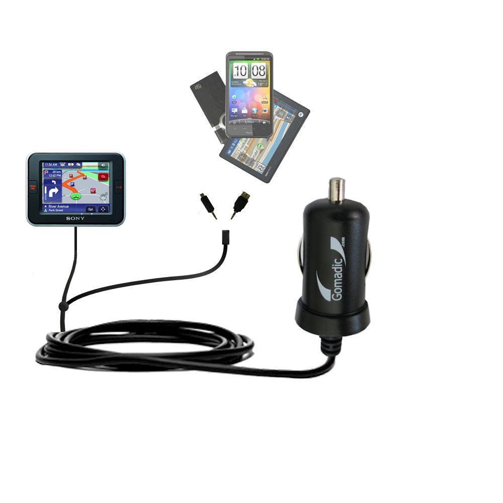Double Port Micro Gomadic Car / Auto DC Charger suitable for the Sony Nav-U NV-U52 - Charges up to 2 devices simultaneously with Gomadic TipExchange Technology