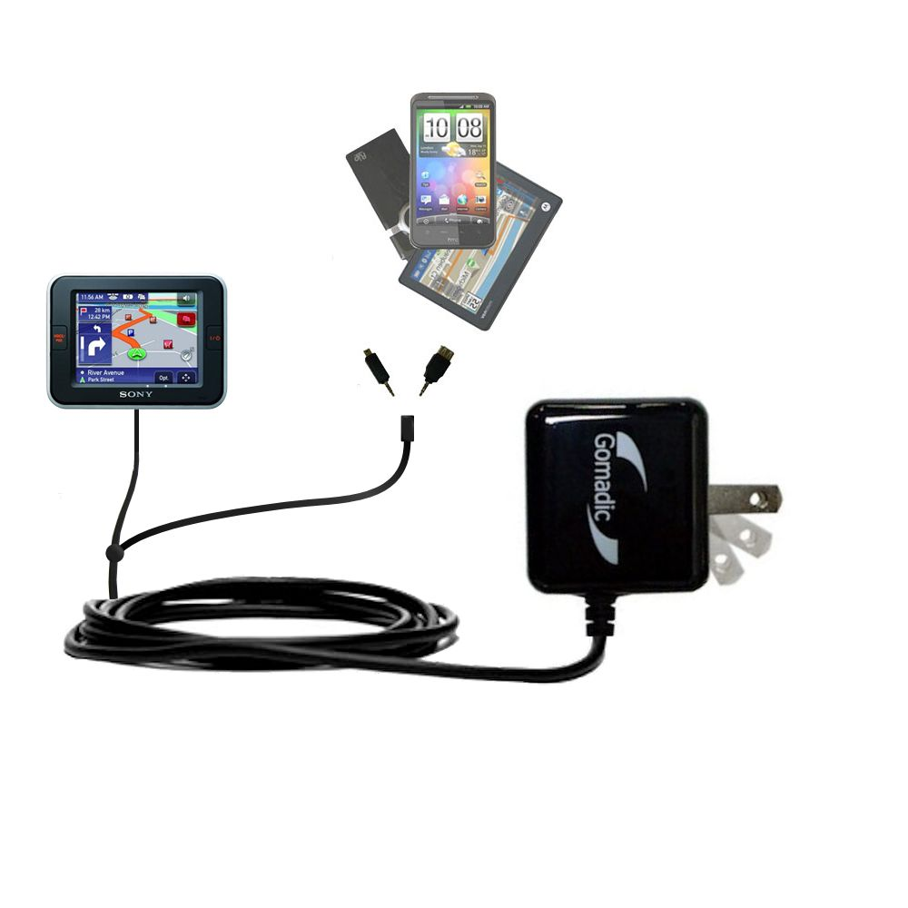 Double Wall Home Charger with tips including compatible with the Sony Nav-U NV-U52