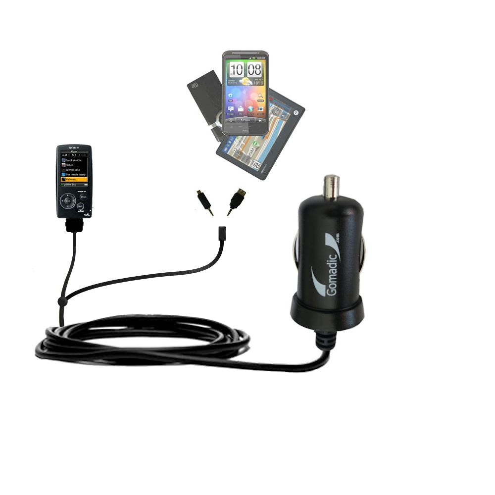 mini Double Car Charger with tips including compatible with the Sony Walkman NWZ-A805