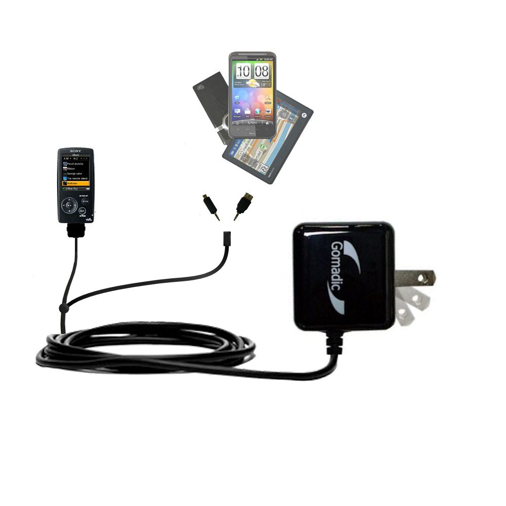 Gomadic Double Wall AC Home Charger suitable for the Sony Walkman NWZ-A805 - Charge up to 2 devices at the same time with TipExchange Technology