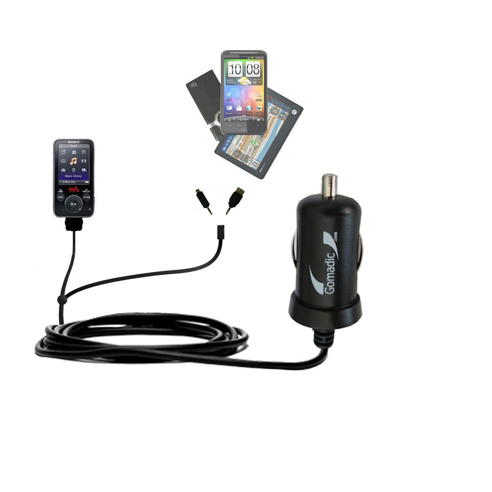 Double Port Micro Gomadic Car / Auto DC Charger suitable for the Sony Walkman NWZ-E438F - Charges up to 2 devices simultaneously with Gomadic TipExchange Technology