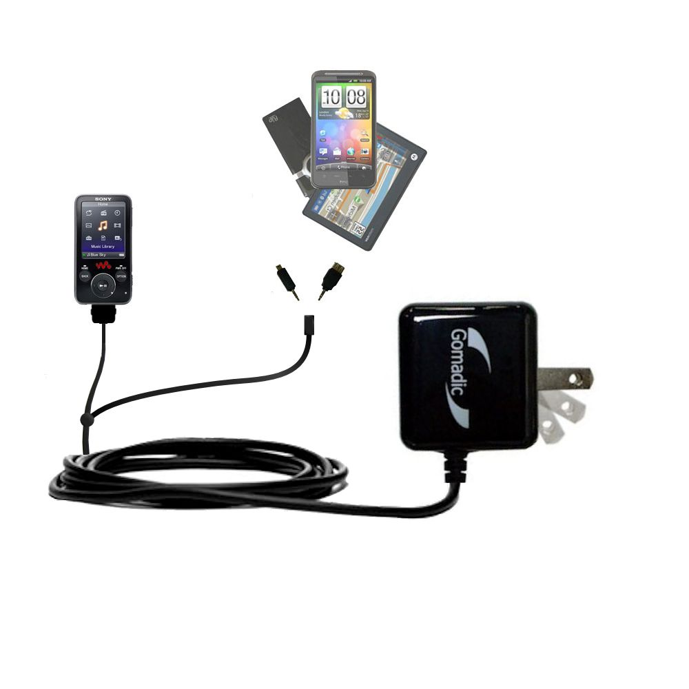 Gomadic Double Wall AC Home Charger suitable for the Sony Walkman NWZ-E438F - Charge up to 2 devices at the same time with TipExchange Technology