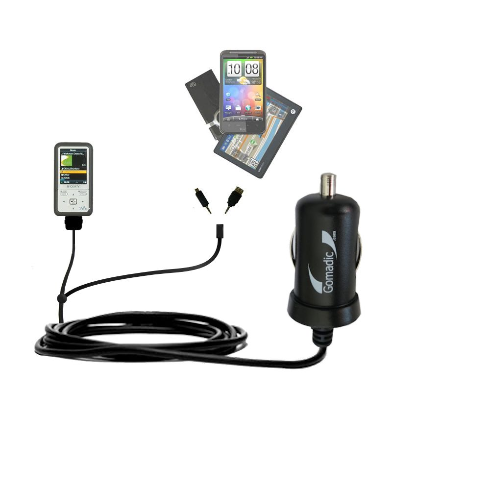 Double Port Micro Gomadic Car / Auto DC Charger suitable for the Sony Walkman NWZ-S616 - Charges up to 2 devices simultaneously with Gomadic TipExchange Technology