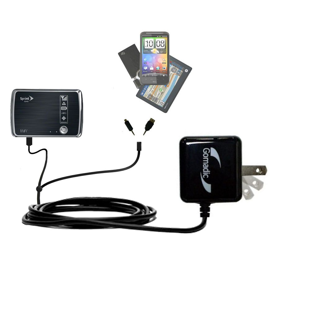 Gomadic Double Wall AC Home Charger suitable for the Sprint 3G/4G Mobile Hotspot - Charge up to 2 devices at the same time with TipExchange Technology