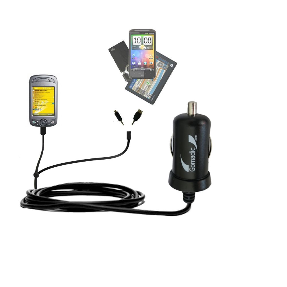 Double Port Micro Gomadic Car / Auto DC Charger suitable for the Sprint PPC-6800 - Charges up to 2 devices simultaneously with Gomadic TipExchange Technology