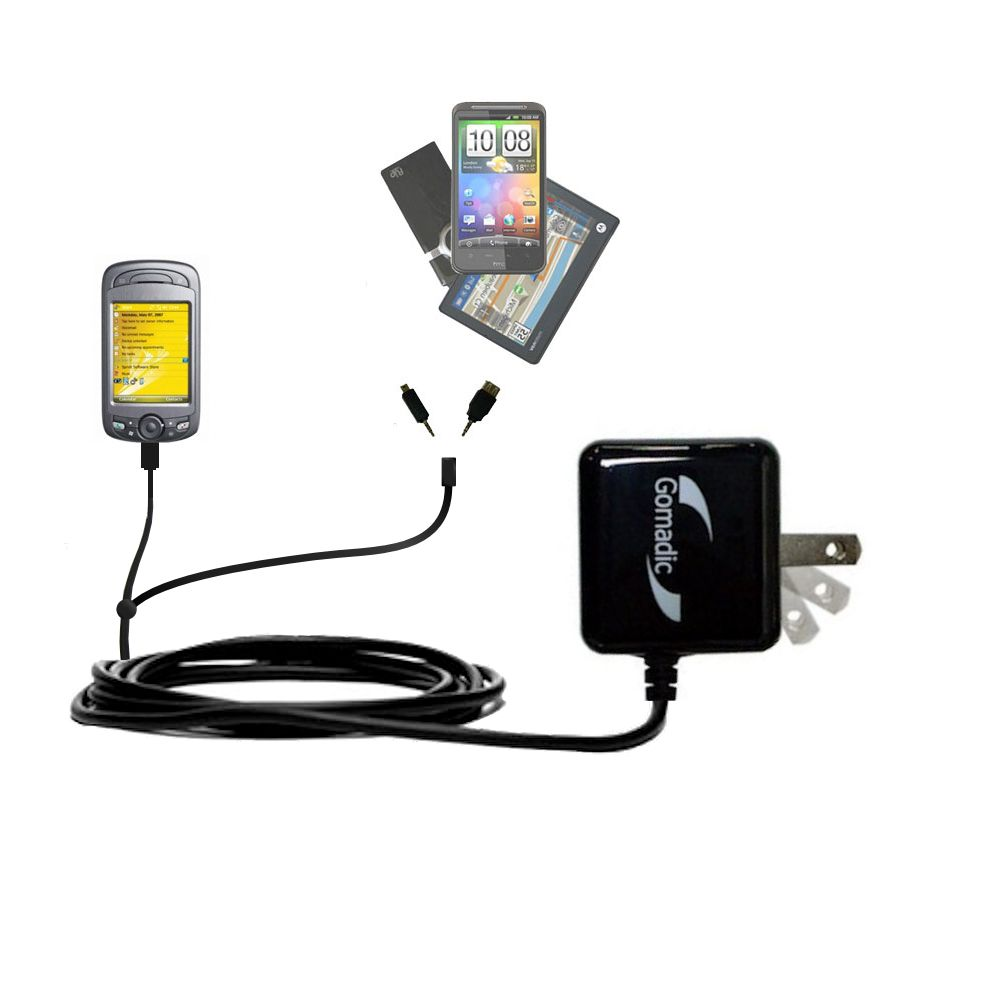 Gomadic Double Wall AC Home Charger suitable for the Sprint PPC-6800 - Charge up to 2 devices at the same time with TipExchange Technology