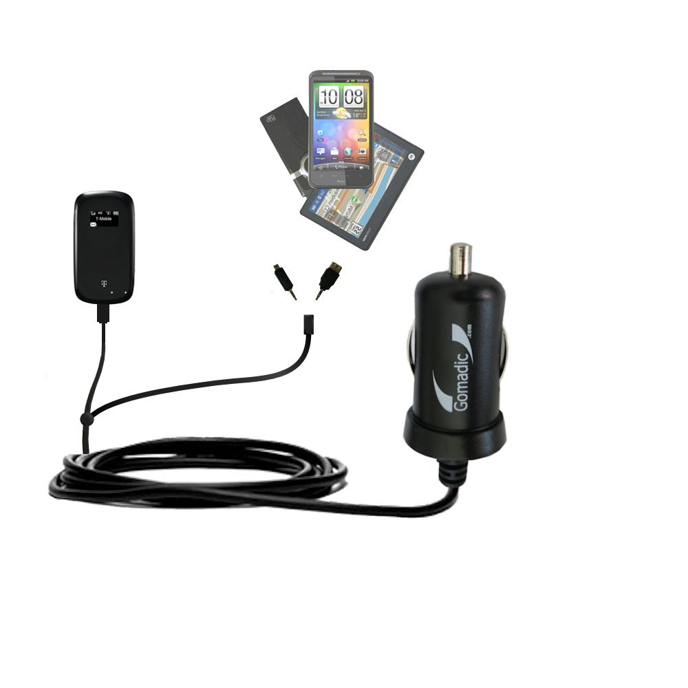Double Port Micro Gomadic Car / Auto DC Charger suitable for the T-Mobile 4G Mobile Hotspot - Charges up to 2 devices simultaneously with Gomadic TipExchange Technology