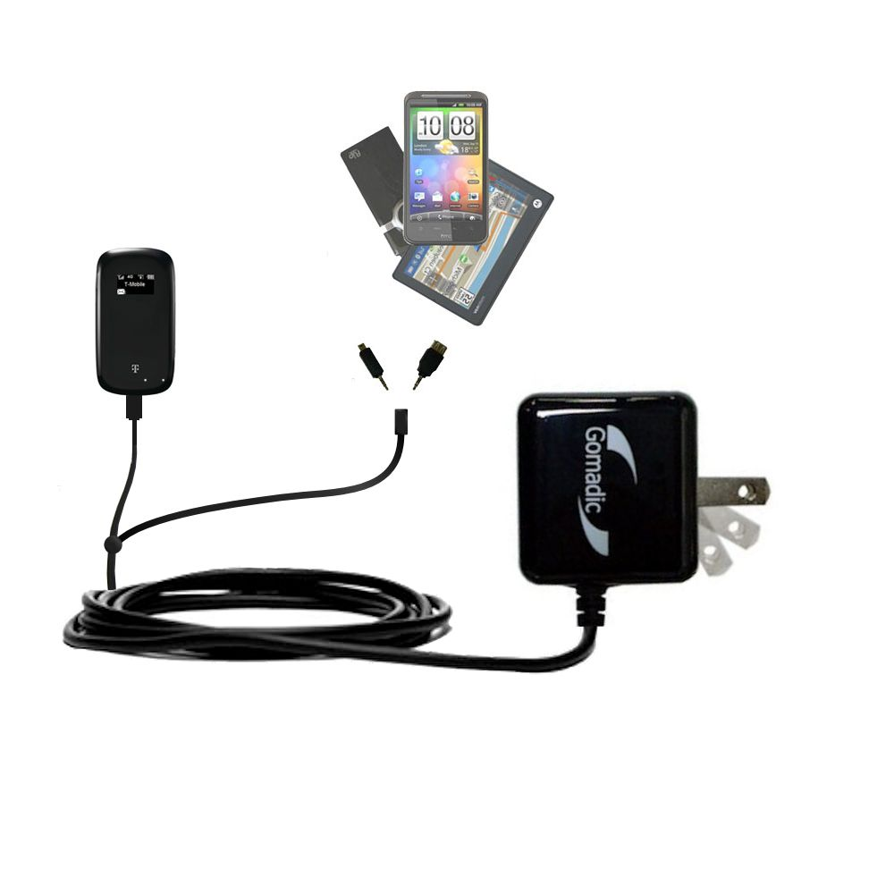 Gomadic Double Wall AC Home Charger suitable for the T-Mobile 4G Mobile Hotspot - Charge up to 2 devices at the same time with TipExchange Technology