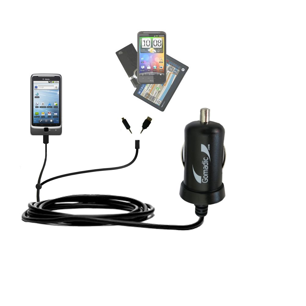 Double Port Micro Gomadic Car / Auto DC Charger suitable for the T-Mobile G2 - Charges up to 2 devices simultaneously with Gomadic TipExchange Technology