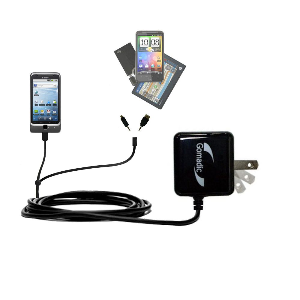 Gomadic Double Wall AC Home Charger suitable for the T-Mobile G2 - Charge up to 2 devices at the same time with TipExchange Technology