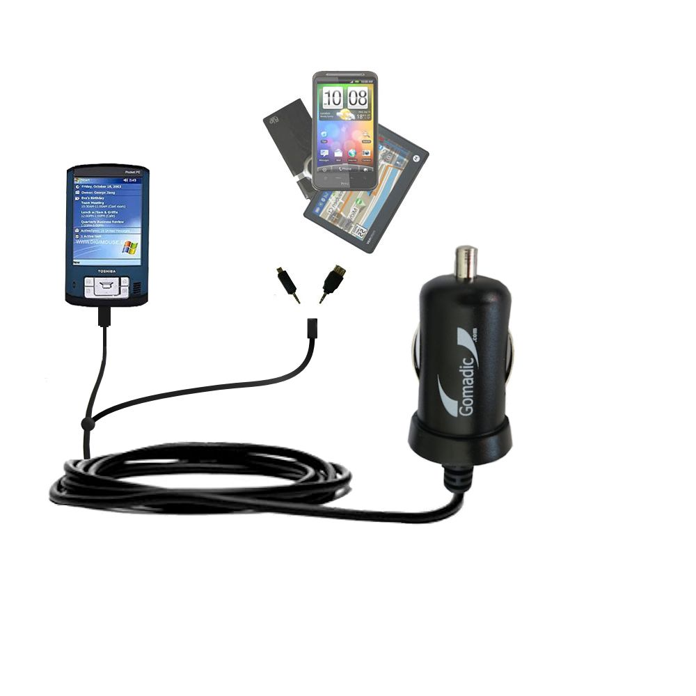 Double Port Micro Gomadic Car / Auto DC Charger suitable for the Toshiba e805 - Charges up to 2 devices simultaneously with Gomadic TipExchange Technology