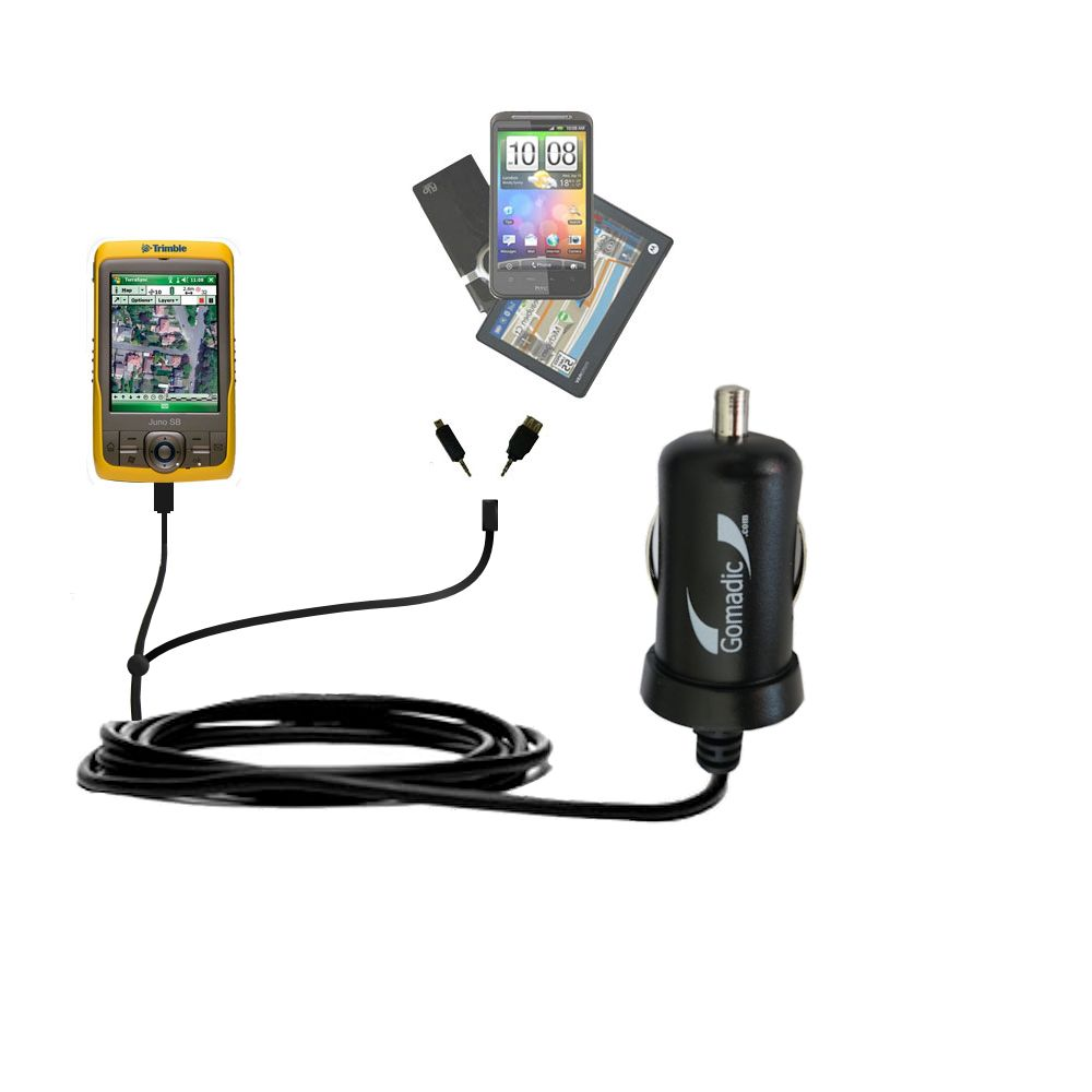 Double Port Micro Gomadic Car / Auto DC Charger suitable for the Trimble Juno SB - Charges up to 2 devices simultaneously with Gomadic TipExchange Technology