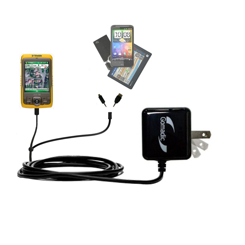 Gomadic Double Wall AC Home Charger suitable for the Trimble Juno SB - Charge up to 2 devices at the same time with TipExchange Technology