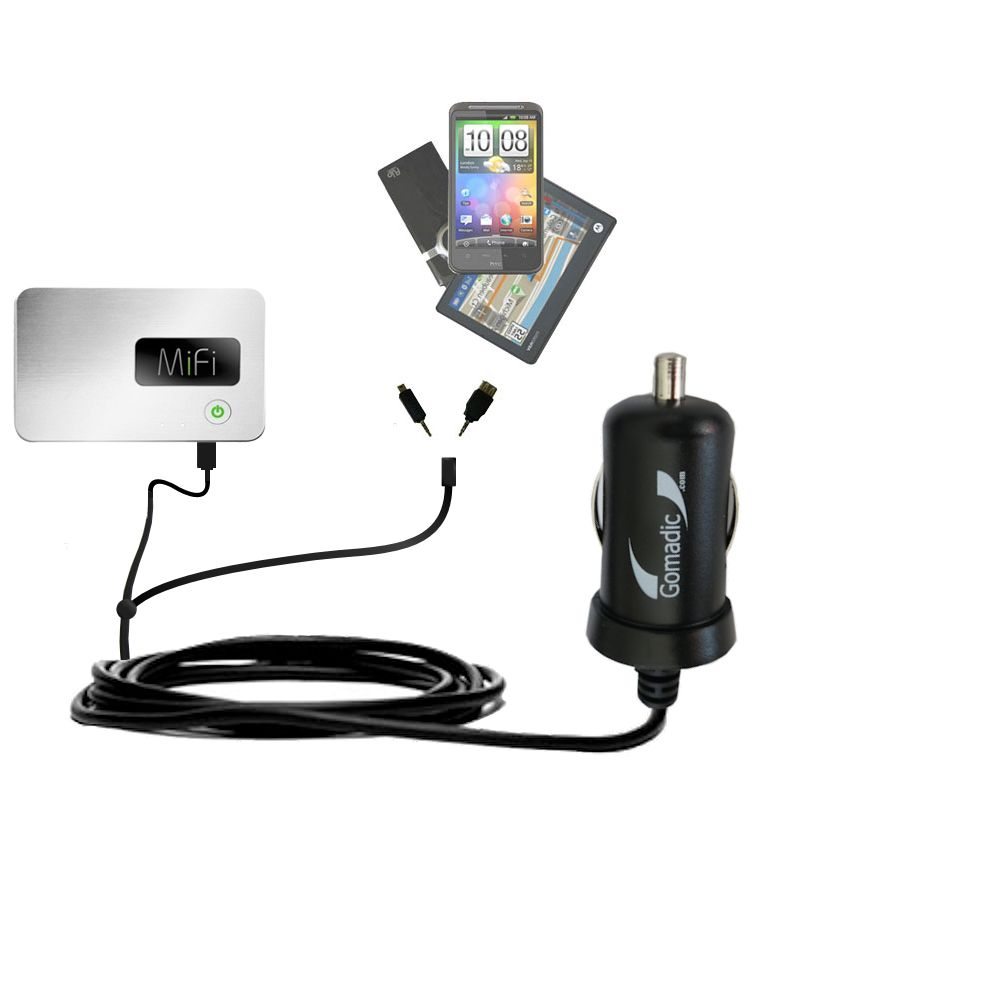 Double Port Micro Gomadic Car / Auto DC Charger suitable for the Walmart Internet on the Go - Charges up to 2 devices simultaneously with Gomadic TipExchange Technology
